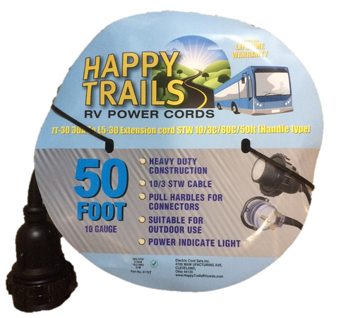 Happy Trails RV 30 Amp - 50 ft RV Electric Locking Power Cord with Lighted End and Pull Handle (8178T)