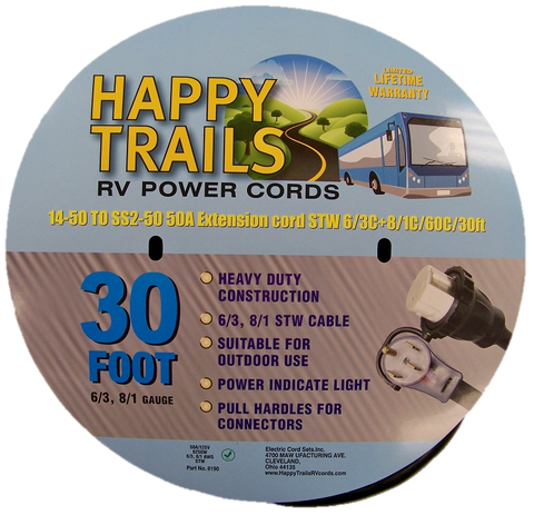 Happy Trails RV 50 amp - 30 ft Locking RV Camper Power Cord with Lighted Ends and Pull Handle (8190T)