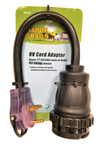 Happy Trails RV straight blade 30 amp male to a locking 50 amp female dogbone adapter (8924T)