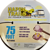 Happy Trails RV 30 Amp - 75 Foot RV Electric extension cord with Lighted Ends and Pull Handle (9512T)