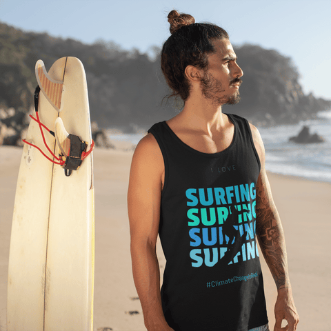 I Love Surfing Tank - #ClimateChangeIsReal