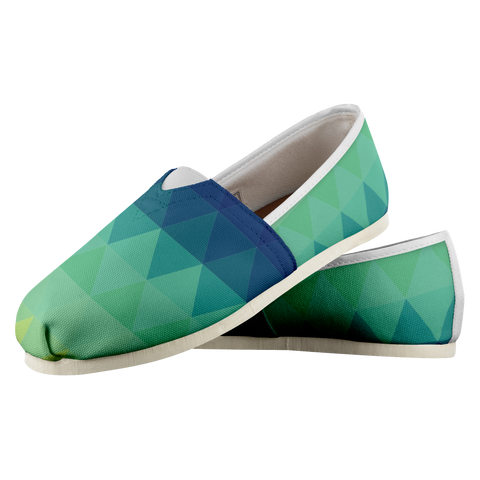 Blue Green ZigZag - Women's Casual Shoe - cormosaic.shop
