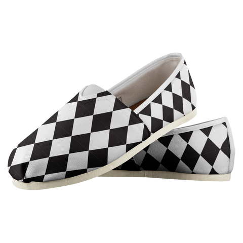 Black Checkered Flag - Women's Casual Shoes - cormosaic.shop