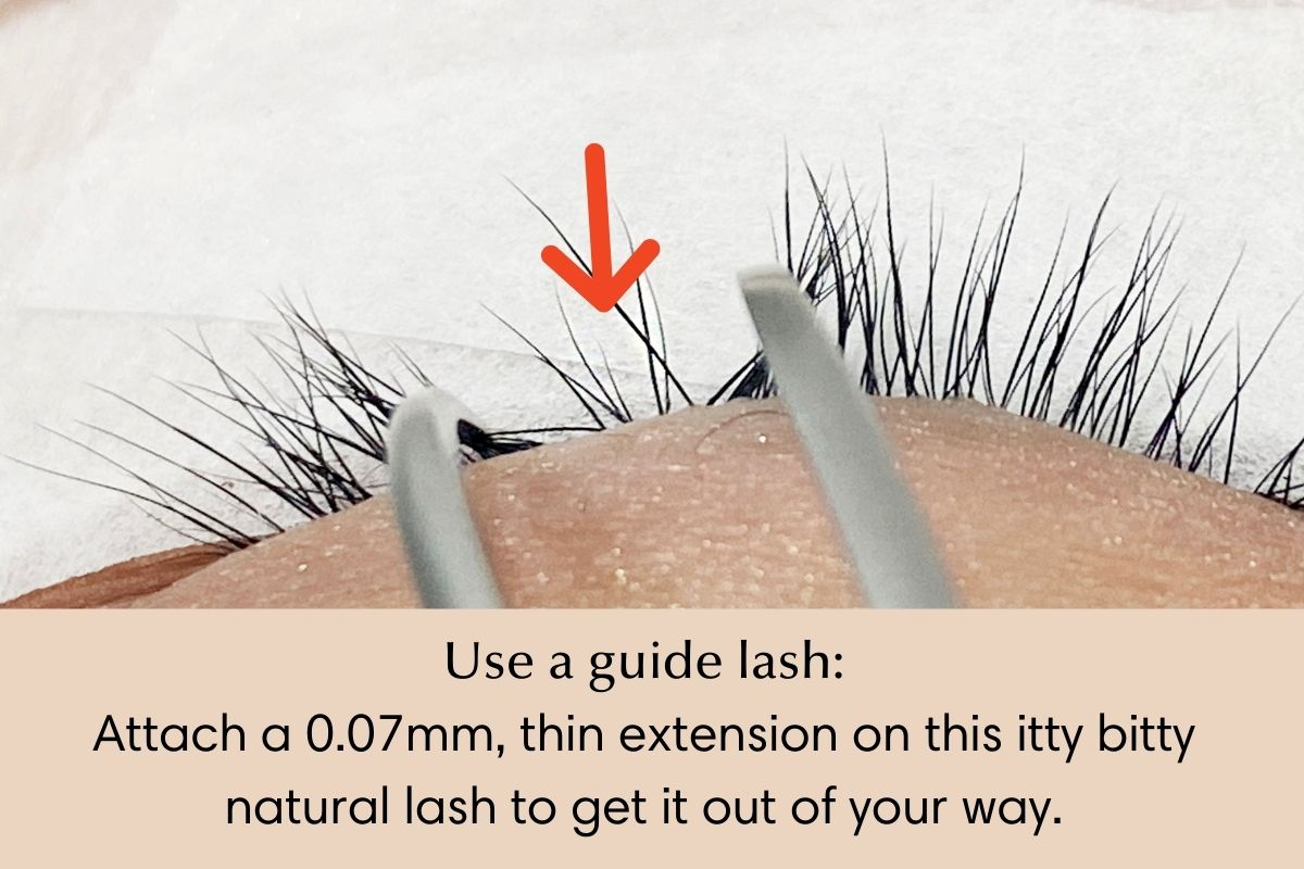 How to attach eyelash extensions - use guide lash technique