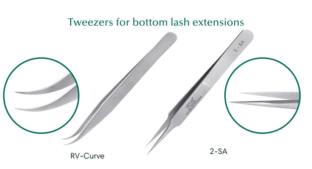 Tweezer for eyelash extensions to bottom lashes