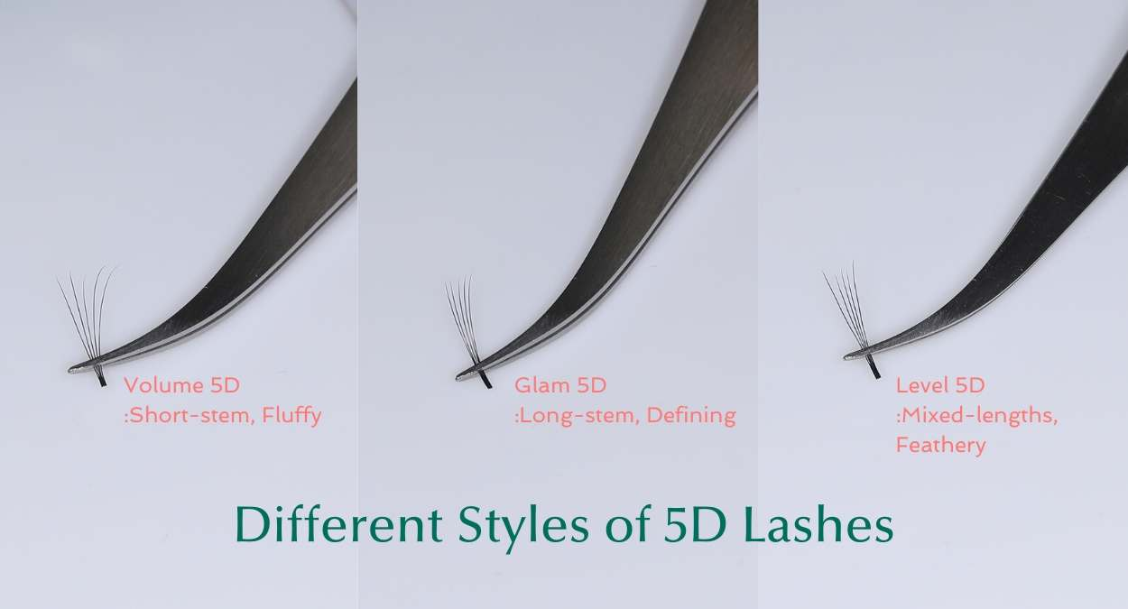 Different styles of 5D Premade lash fans by BL Blink Lashes - Eyelash extension supplies