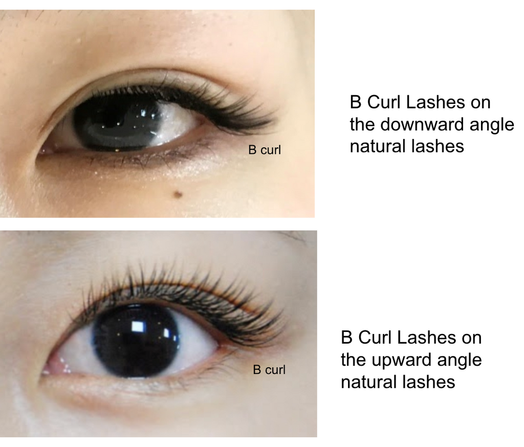 eyelash extension curl chart - curl expression depends on the angle of natural lash