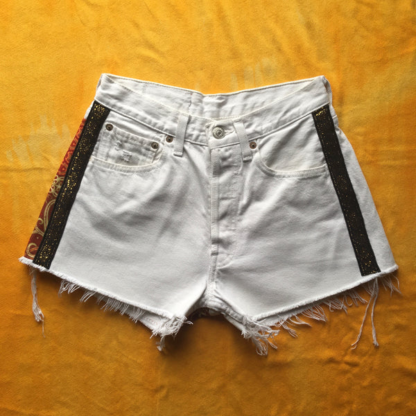 white & orange shorts // XS