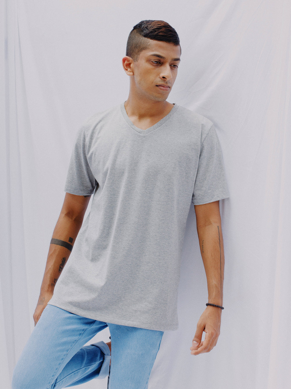Regular Short Sleeved V Neck T-Shirt