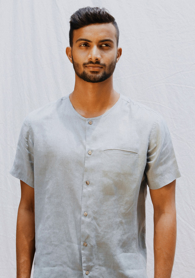 Short Sleeved Linen Shirt with a Cut Pocket-Aquamarine