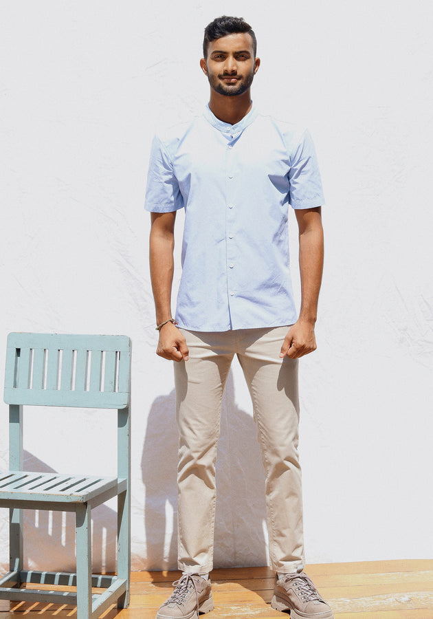Short Sleeved Mandarin Collared Shirt-Light Blue