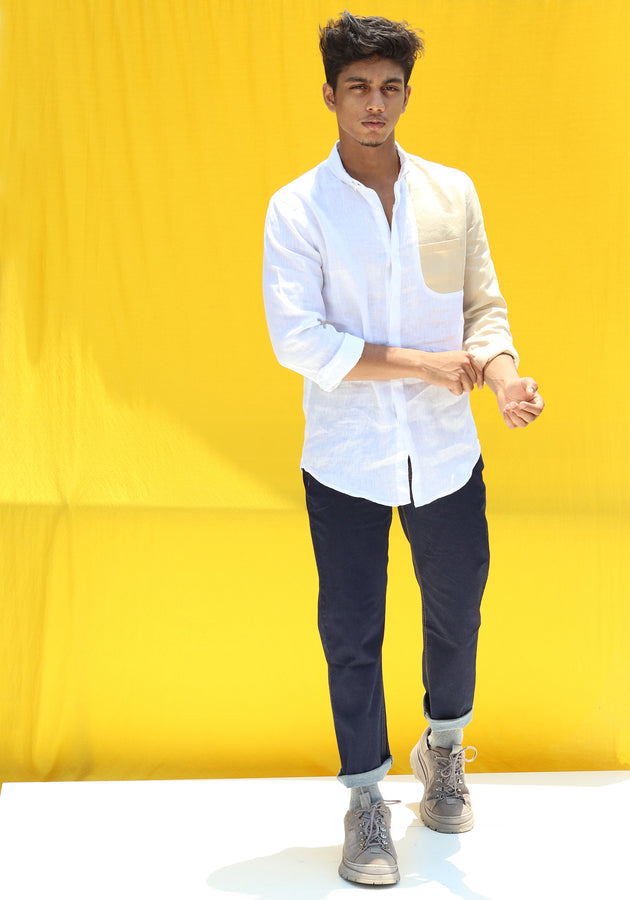 LONG SLEEVED COLOR BLOCKED LINEN SHIRT-WHITE