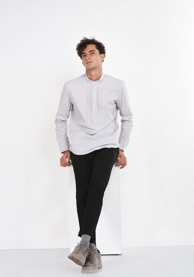 LONG SLEEVED COTTON SHIRT WITH PINTUCKS - LIGHT GRAY