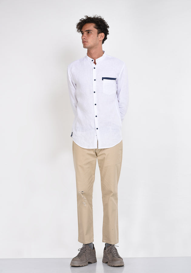 LONG SLEEVED LINEN SHIRT WITH CONTRAST DETAILS - WHITE