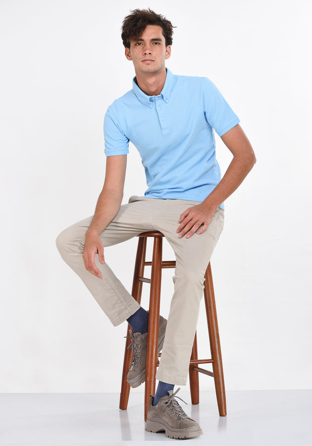SHORT SLEEVED POLO SHIRT - BLUE