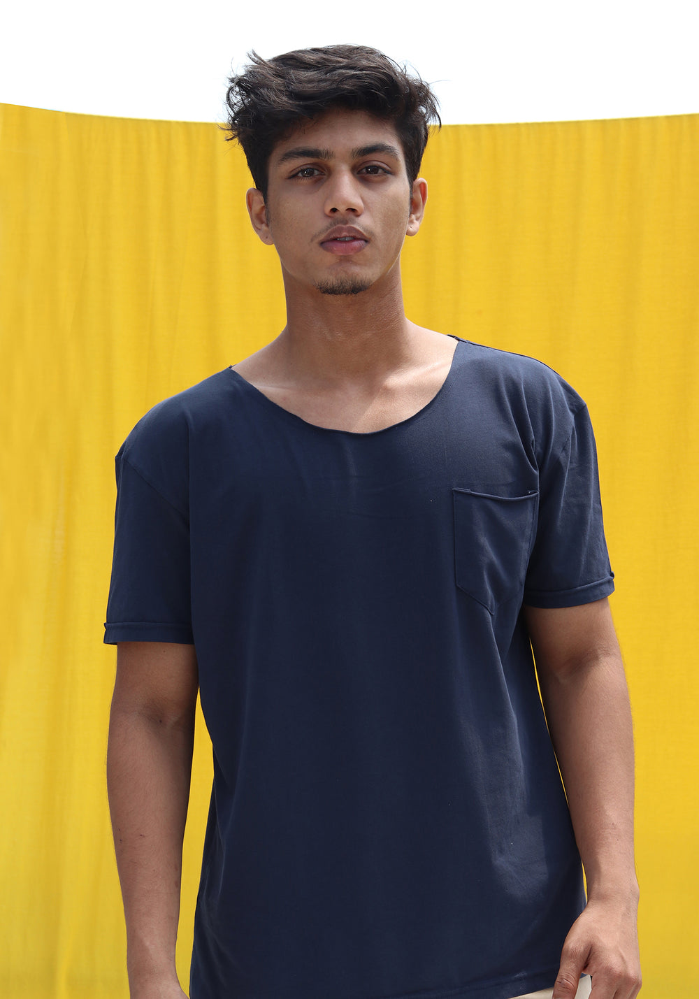 SHORT SLEEVED LONGLINE T-SHIRT-NAVY BLUE