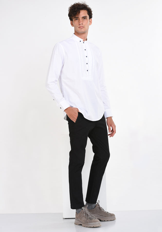 LONG SLEEVED COTTON SHIRT WITH PINTUCKS - WHITE