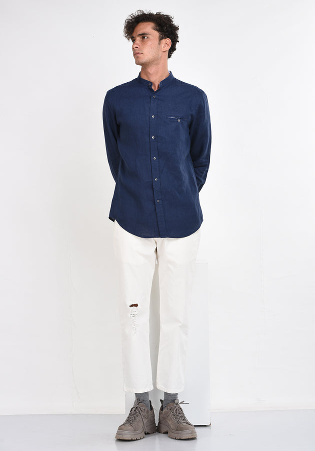 LONG SLEEVED LINEN MANDARIN COLLAR SHIRT - NAVY BLUE