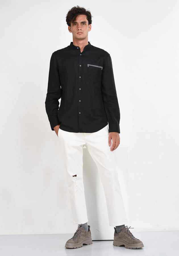 LONG SLEEVED LINEN SHIRT WITH CONTRAST DETAILS - BLACK
