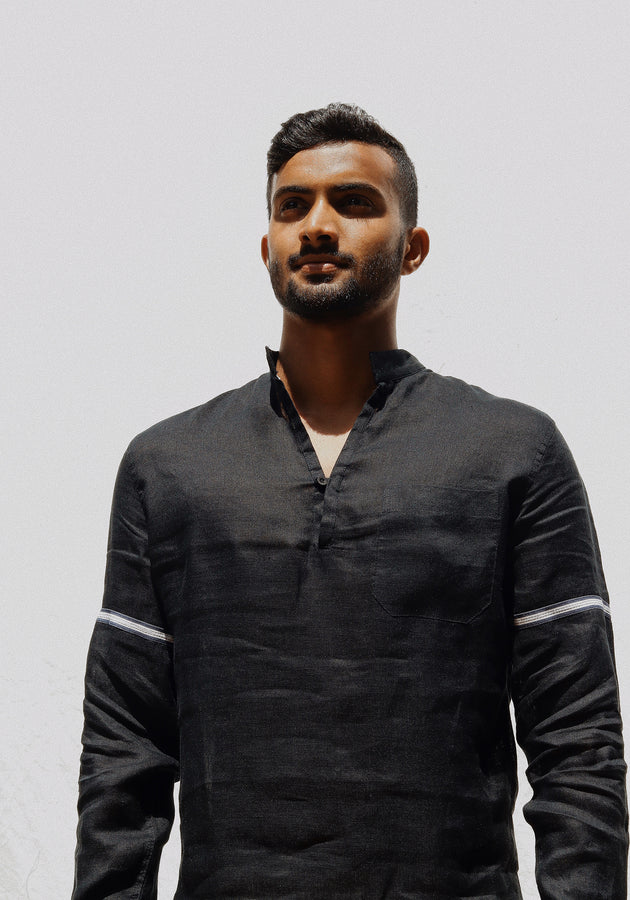 Long Sleeved Linen Shirt -Black