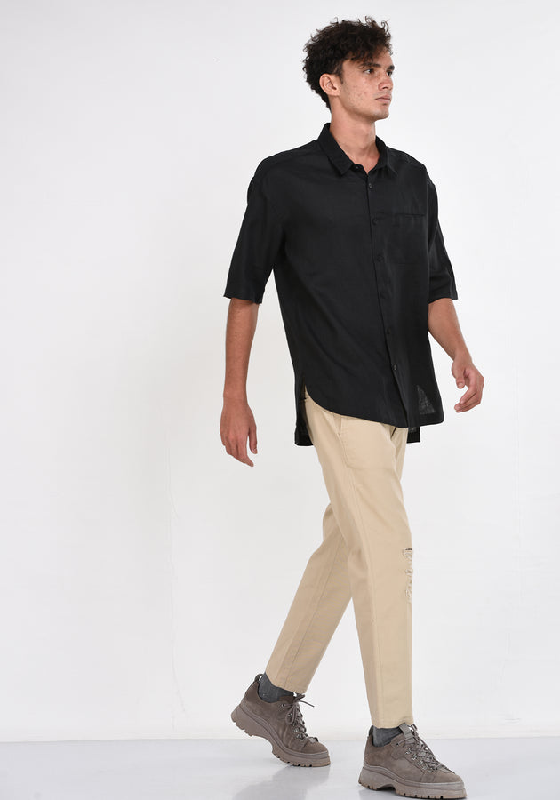 SHORT SLEEVED RELAXED FIT  LINEN SHIRT - BLACK