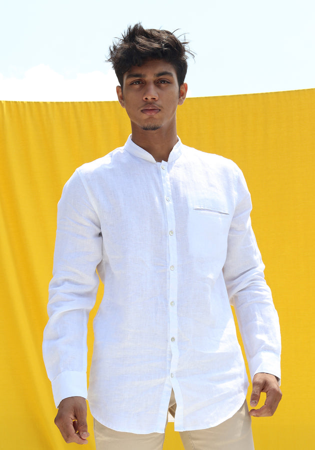 LONG SLEEVED LINEN HENLEY COLLAR SHIRT-WHITE