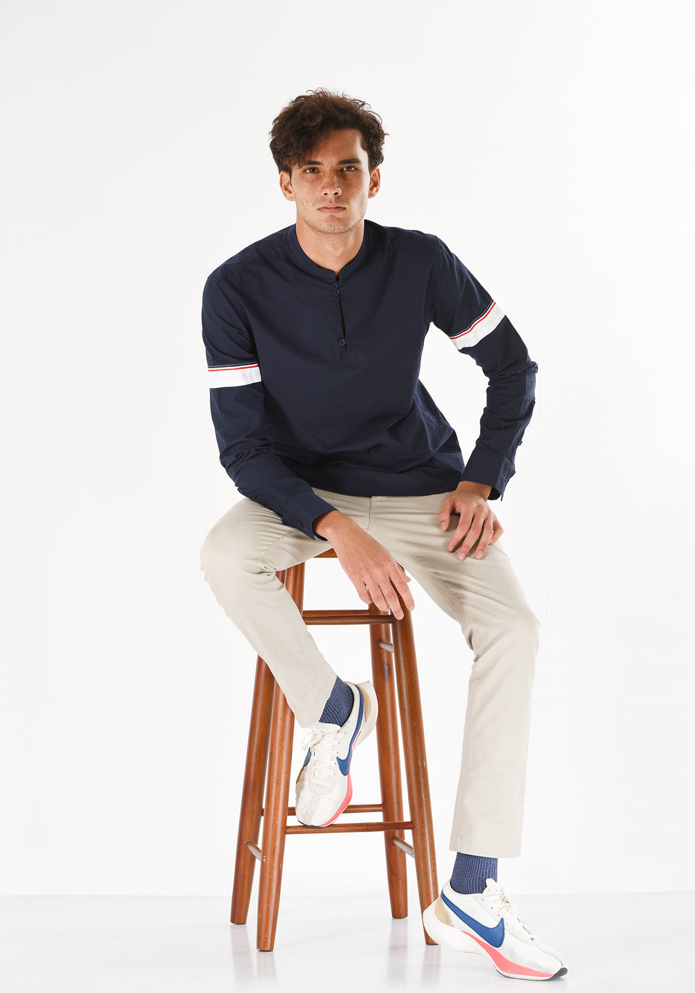 LONG SLEEVED OXFORD COTTON SHIRT WITH PATCHED SLEEVES-NAVY BLUE