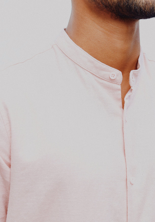 Short Sleeved Mandarin Collar Shirt-Peach