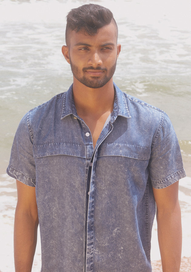 Short Sleeved Acid washed Chambray Shirt