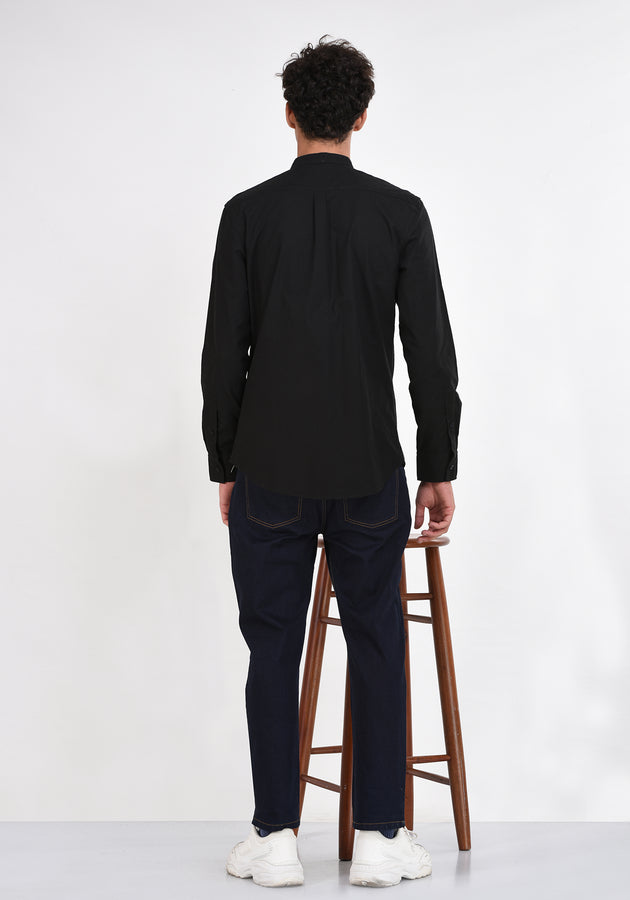 LONG SLEEVED BASIC MANDARIN COLLAR SHIRT - BLACK