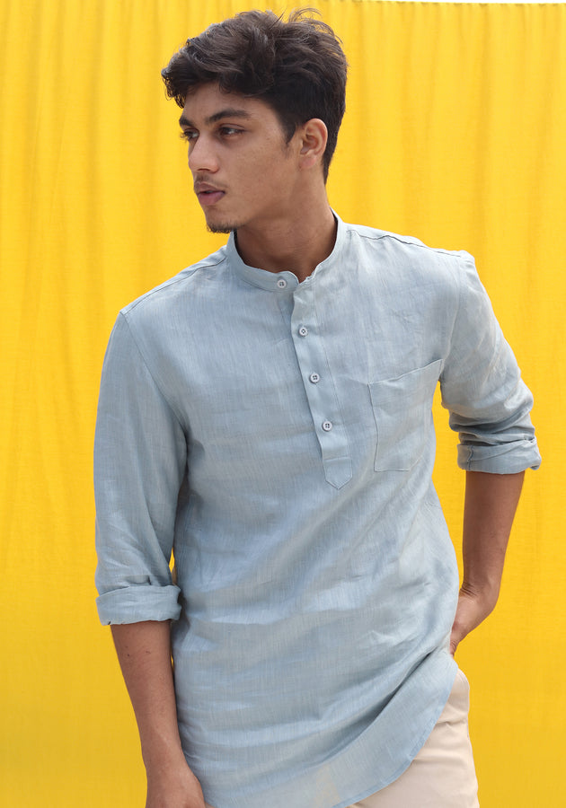 LONG SLEEVED MANDARIN COLLAR LINEN SHIRT WITH A POCKET-AQUAMARINE
