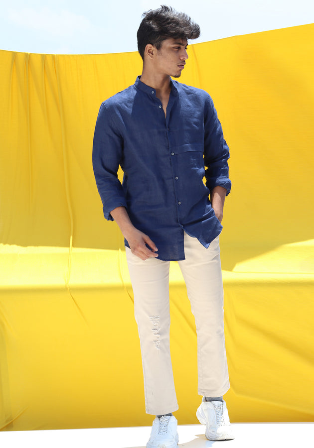 LONG SLEEVED MANDARIN COLLAR LINEN SHIRT-NAVY BLUE