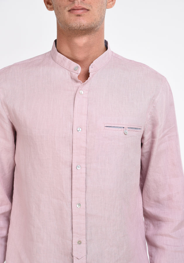 LONG SLEEVED LINEN MANDARIN COLLAR SHIRT - MAUVE
