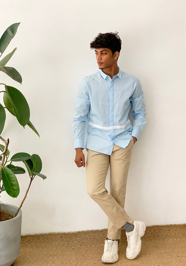 LONG SLEEVED COLOR BLOCKED SHIRT - LIGHT BLUE