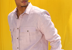 LONG SLEEVED LINEN SHIRT WITH CHEST POCKETS-MAUWE