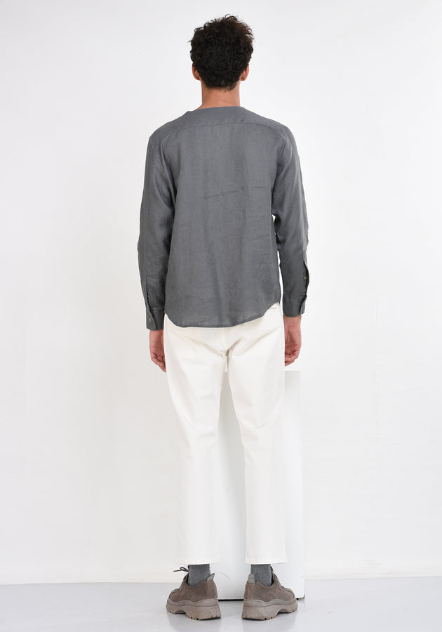LONG SLEEVED V NECK LINEN SHIRT - GREY