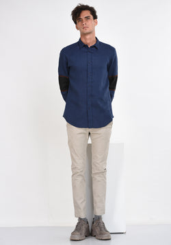 LONG SLEEVED LINEN SHIRT WITH SLEEVE PATCHES - NAVY BLUE
