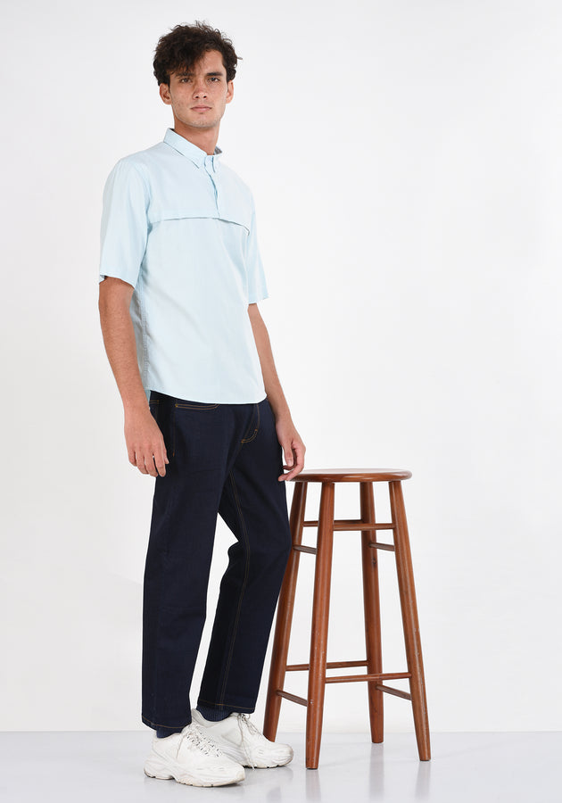 SHORT SLEEVED COTTON SHIRT WITH HORIZONTAL PLEAT-LIGHT BLUE