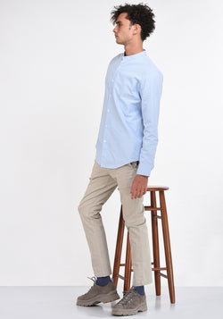 LONG SLEEVED BASIC MANDARIN COLLAR SHIRT - LIGHT BLUE