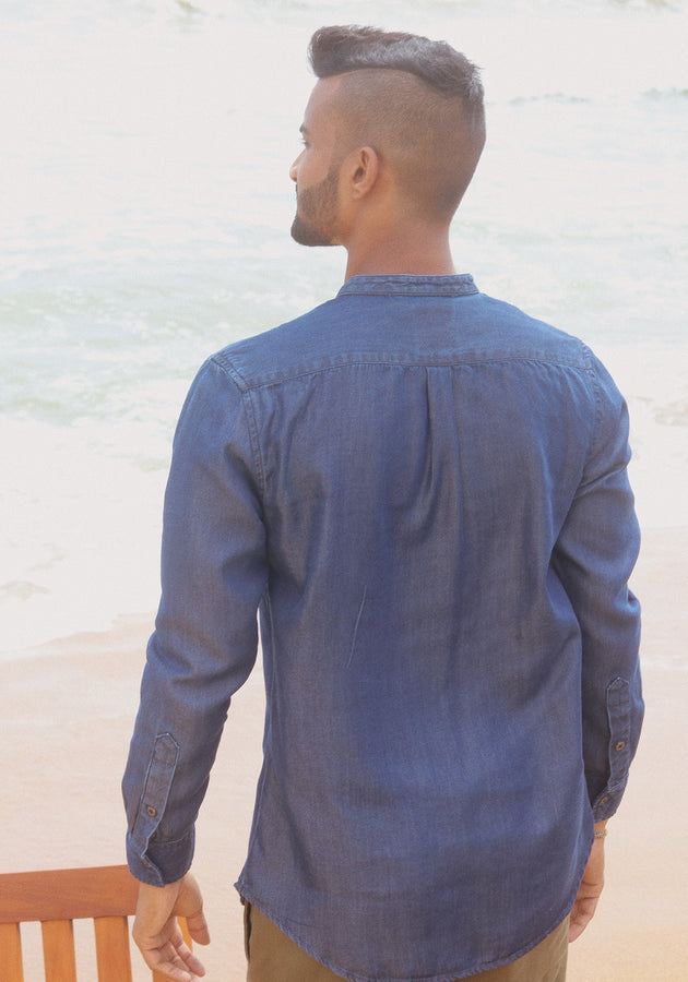 Long Sleeved Mandarin Collar Chambray Shirt