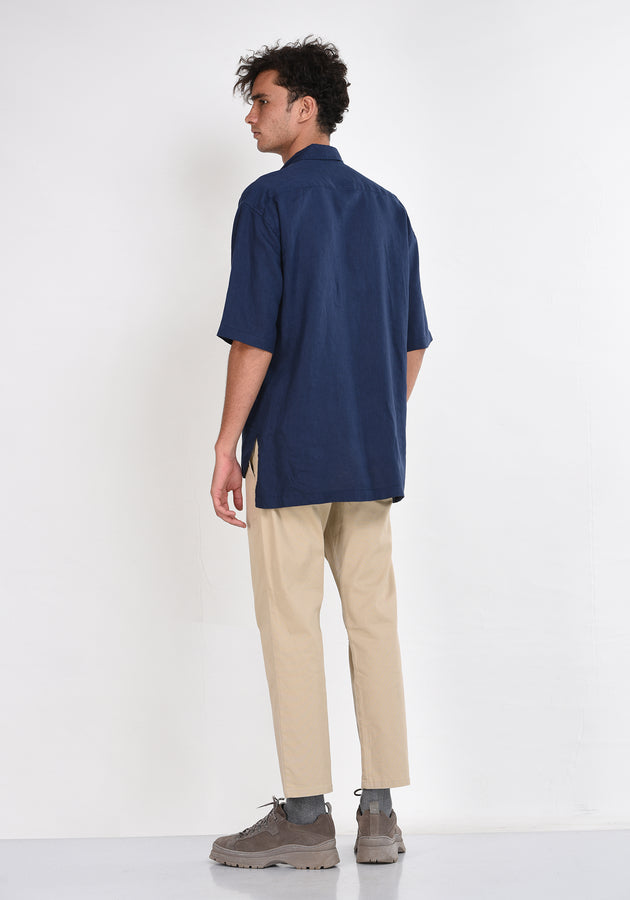 SHORT SLEEVED RELAXED FIT  LINEN SHIRT - NAVY BLUE