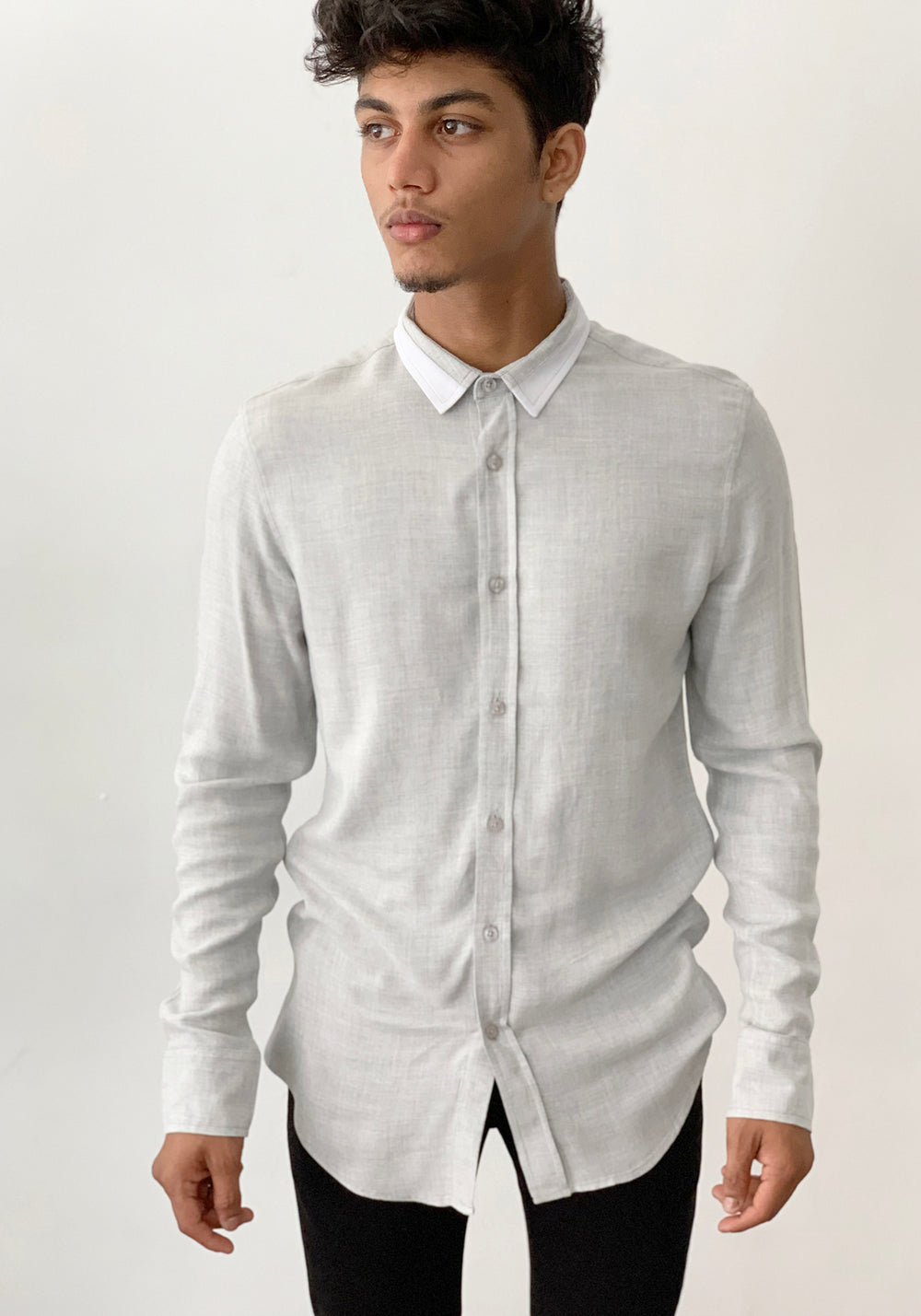LONG SLEEVED SHIRT WITH CONTRAST COLLAR-GREY