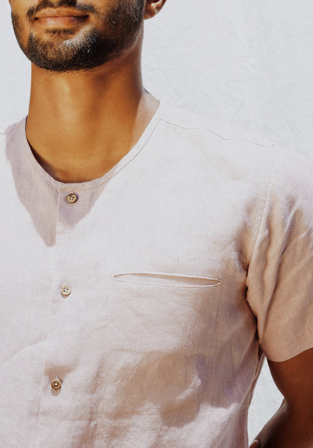 Short Sleeved Linen Shirt with a Cut Pocket