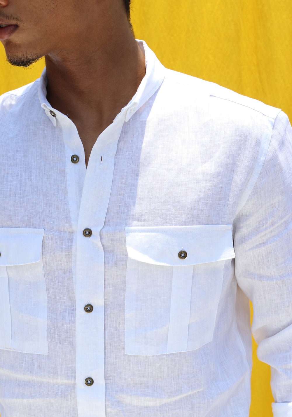 LONG SLEEVED LINEN SHIRT WITH CHEST POCKETS-WHITE