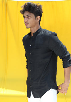 LONG SLEEVED LINEN HENLEY COLLAR SHIRT- BLACK