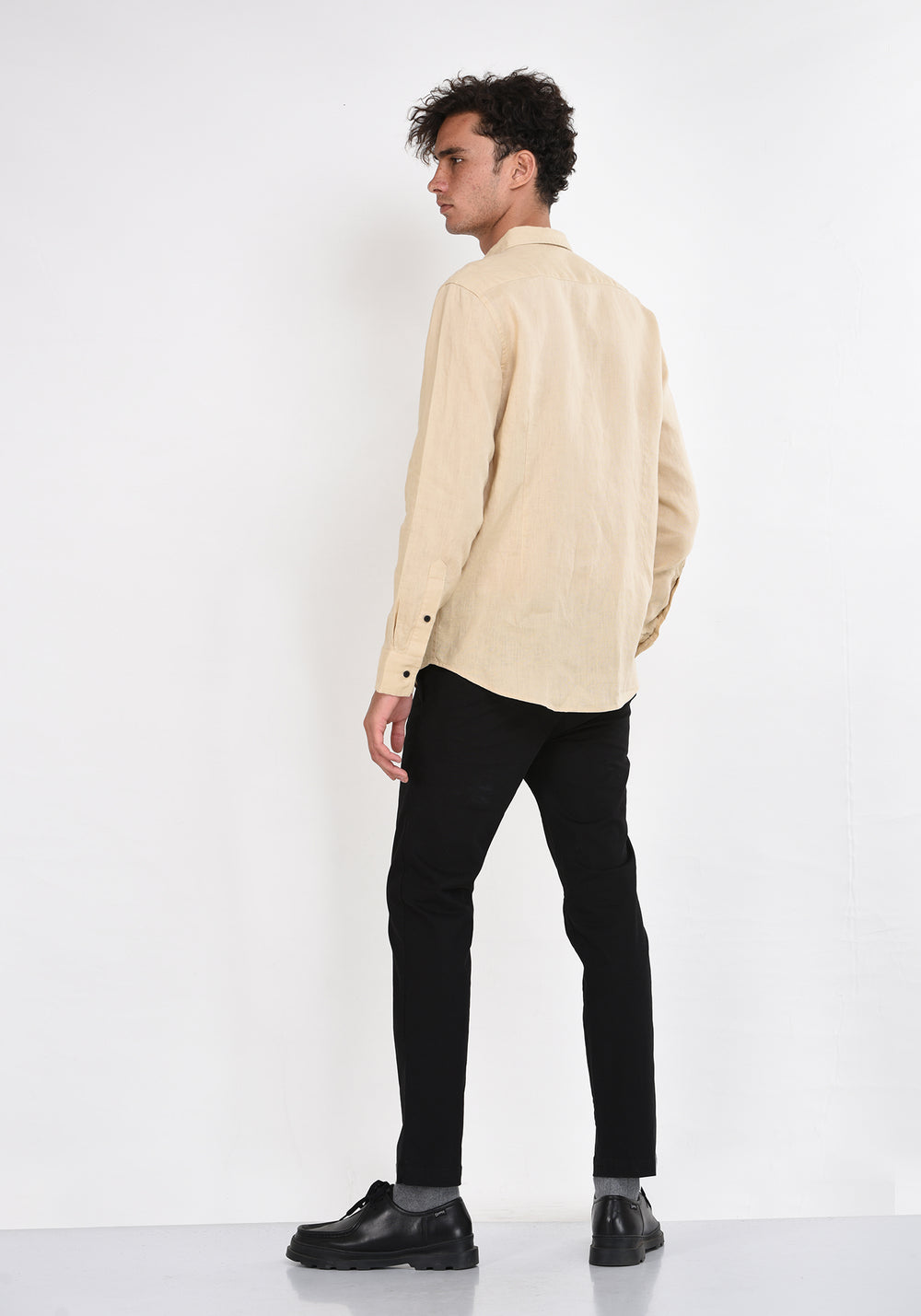 LONG SLEEVED LINEN SHIRT WITH DARTS - BEIGE