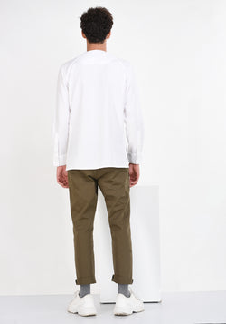 LONG SLEEVED COTTON SHIRT WITH PATCHED YOKE-WHITE