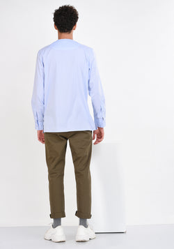 LONG SLEEVED COTTON SHIRT WITH PATCHED YOKE-BLUE