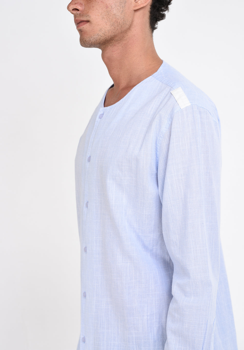 LONG SLEEVED SHIRT WITH SHOULDER PATCHES - LIGHT BLUE