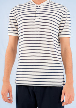 SHORT SLEEVED HENLEY T-SHIRT